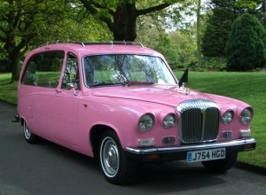Pink hearse from Greene's Carriages