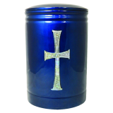 Modern blue urn from Cremations Direct